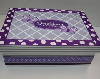 Butterfly Keepsake Box- Purples and Gray