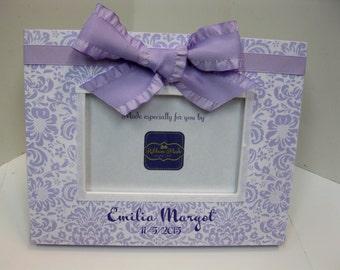 Lavender Headband Newborn Birthdate Frame