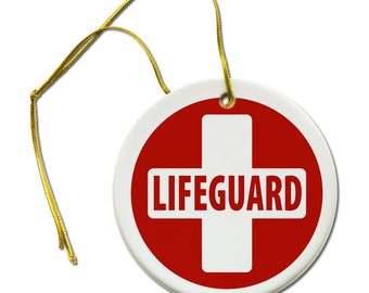 Lifeguard Cross Red White Heroes Hanging Ceramic Ornament