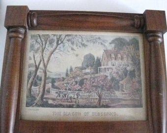 Vintage Currier & Ives Framed Wall Mirror Wood Spring Scene New England--#ER