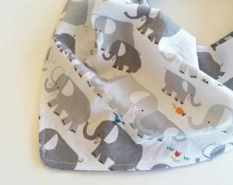 Baby Bandana Bib - Baby Bib - Elephant Baby Bib - Grey White Bandana Bib - Baby Shower Gift