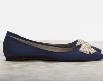 Navy Blue Flats - Wedding Flats - Bridal Shoe - Blue Wedding Flats - Navy Flats - Blue Wedding Shoe - Navy Wedding Flats - Navy Wedding Shoe