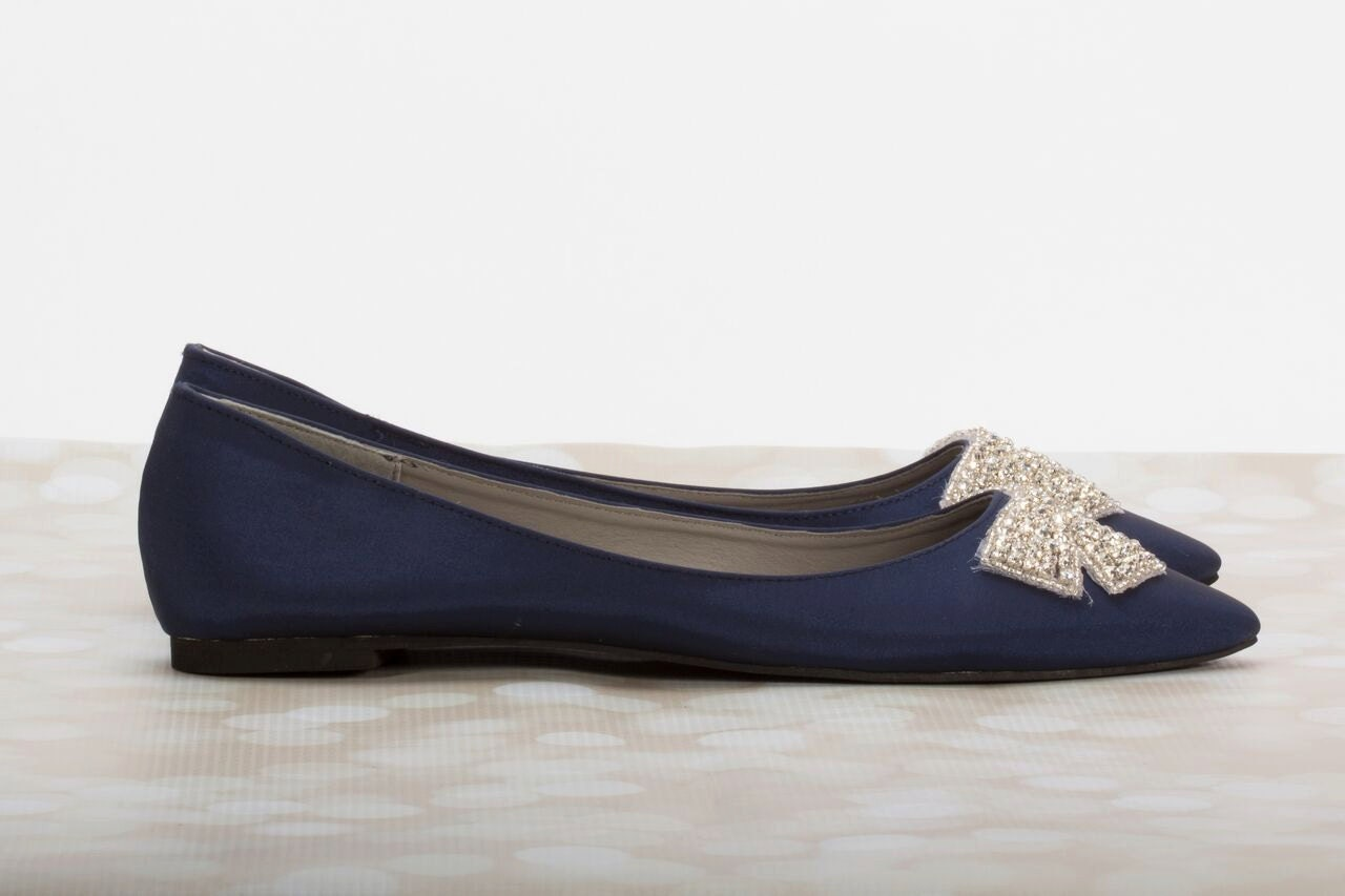 Navy Blue Flats Wedding Flats Bridal Shoe Blue Wedding