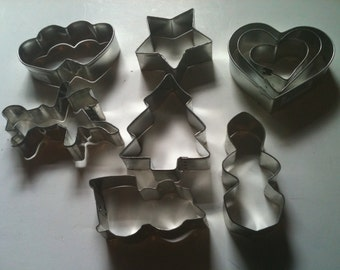 Set of 9 Vintage Metal Cookie Cutters