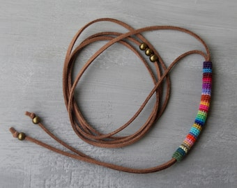 Bolo Wrap Choker, Bolo Necklace, Bolo Tie Choker, Suede Bolo Necklace, Bolo Tie Necklace, Bolo Lariat Necklace Colorful Crochet Tube