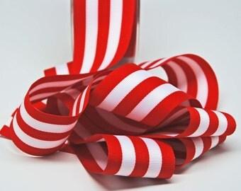Grosrain Horizontal Stripe Ribbon -- 2 inch -- Red White -- 2 yards