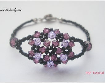 Beaded Bracelet Tutorial Pattern - Purple Flower Bouquet Bracelet (BB085) - Beading Jewlry PDF Tutorial (Instant Download)