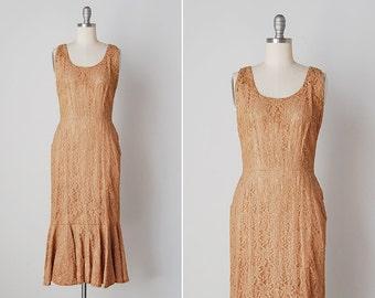 vintage 1950s dress / 1950s fishtail dress / brown lace dress / Arlea dress