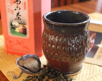 Rustic Stoneware Japanese Inspired Yunomi Tea Cup Tumbler or Wine Cup in Jasper and Earth Tones