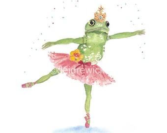 5x7 Frog Watercolor Print - Ballerina Frog, Ballet Art, Nursery Art