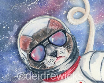 Cat Watercolor - 8x10 PRINT, Cool Cat, Outer Space, Cat in Glasses, Sci Fi Art, Cat Illustration, Nursery Art