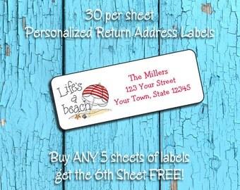 LIFE'S A BEACH Personalized Return Address LABELS - Buy Any 5, Get 6th Free - 30 Return Address Labels, Beach, Sand, Umbrella, Shells, Ocean