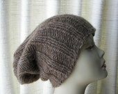 SALE ICELANDIC WOOL Chunky Hand Knit Beanie Ski Hat in Brown / Lopi yarn Knit Slouch hat