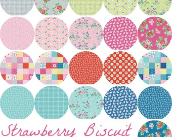 SALE Fat quarter bundle of Strawberry Biscuit fabric collection by Elea Lutz for Penny Rose