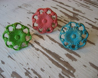 2 Vintage Style Brass Floral Knobs Custom Color Pulls for your Dressers Drawers or Cabinets Pictured in Lime Coral and Turquoise Blue B-3