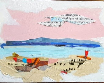 "Collage Mixed Media Beach Seashore Contemporary Art Wall Art 4"" x 6"" on Wood"