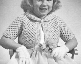 vintage knitting pattern girls bolero jacket and raglan sweater toddler lace pullover raglan short sleeves printable pdf pattern download
