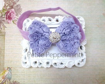 Lavender baby headband, baby bow headband, lavender bow headband, baby head band bow, medium bow headband, infant, toddler hair bow