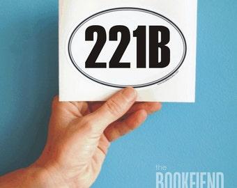 221B Baker Street oval bumper sticker