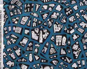 City Scenes buildings on blue Jane Dixon Andover fabrics FQ or more