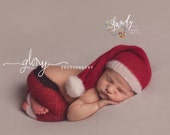 Newborn Santa set, hat and pants, Christmas photo prop, delicate knit