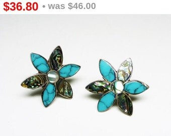 Sterling Silver Flower Earrings -  Vintage Daisy Flowers with Turquoise & Oyster Shell Screwbacks