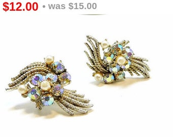 Vintage Rhinestone Earrings - Designer Signed Coro Aurora Borealis AB Clip on Style