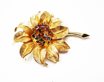 Vintage Flower Brooch - Florentine Etched Goldtone with Multi Colored Rhinestones - Rhinestone Center - Designer Signed Judy Lee