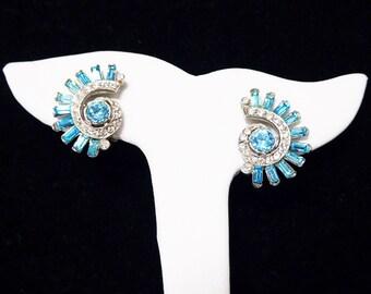 Turquoise Rhinestone Earrings - Turquoise Blue Baguettes - White Swirl - Clip on Earrings - Fan Shaped - Vintage 1950's Earrings Mid Century