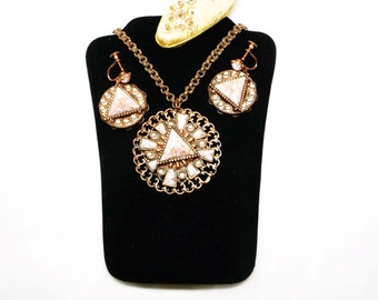 Vintage Copper Demi Parure Set - Necklace Pendant & Earrings with Pyramid Glitter Lucite Cab - Mid Century Modern