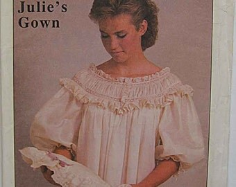 Vintage 80's Misses' Julie's Smocked Gown Pattern by Susan Oliver A Work of Heart, French Hand Sewing by Machine UC Sizes S-M-L 6-16