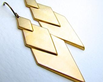 Brass art deco cascading triangle earrings