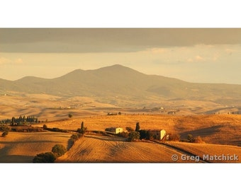 "Fine Art Color Landscape Photography of Tuscany - ""Val d'Orcia Under the Tuscan Sun"" 16x9 Print"