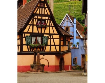 Fine Art Color Travel Photography of Colorful Street in Niedermorschwihr France