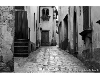 """Fine Art Black & White Photography of Hilltown in Tuscany - """"Quiet Lane in Barga"""""""