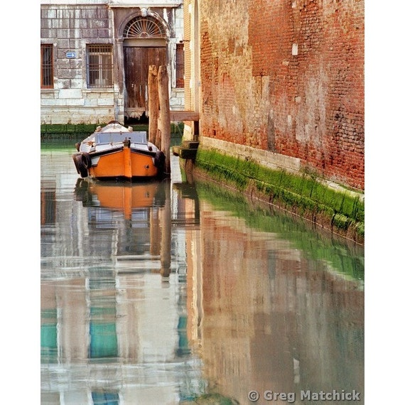"Fine Art Color Travel Photography of Boat and Canal in Venice - ""Lone Orange Boat"""
