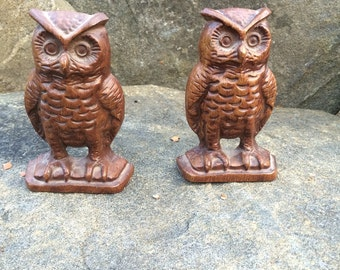 Cast Iron Owl Bookends EMIG 1546 Owl Collectible Library Decor Cabin chic Country Cottage Unique Old Bookends