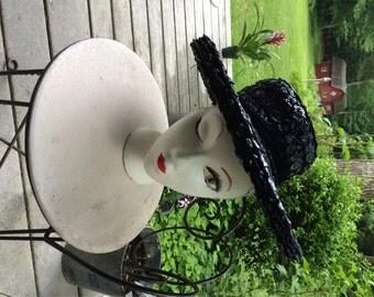 Vintage Hat Blue Straw Hat Tilt Hat Picture Hat Vintage 50's-60's Amrose Label and G Fox & Co Label Classic Tilt Straw Hat Starlet Style