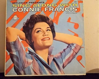 Vintage Vinyl Record, 1961 Pop Music Sing Along with Connie Francis, Mati-Mor Super Records 8002 Brylcreem Promotional Recording