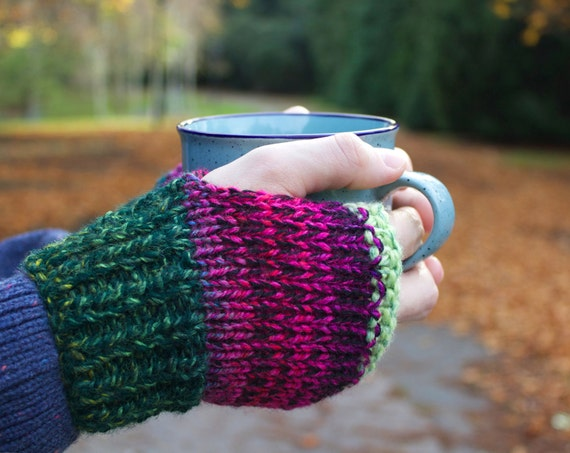 Watermelon Busker's Mittens - Unisex Fingerless Mittens - Watermelon Fingerless Gloves for Men - Unisex Fingerless Handwarmers Gifts for Him