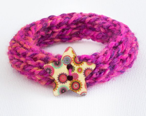 Stocking fillers - Summer Fruits Button Bangle • Bright Pink Knitted Bracelet • Textile Jewellery Bangle gift for girls, daughters, ladies