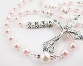 Pink and White Swarovski Pearl Personalized Rosary Beads - Baptism, First Communion, Confirmation Catholic Gift for a Girl
