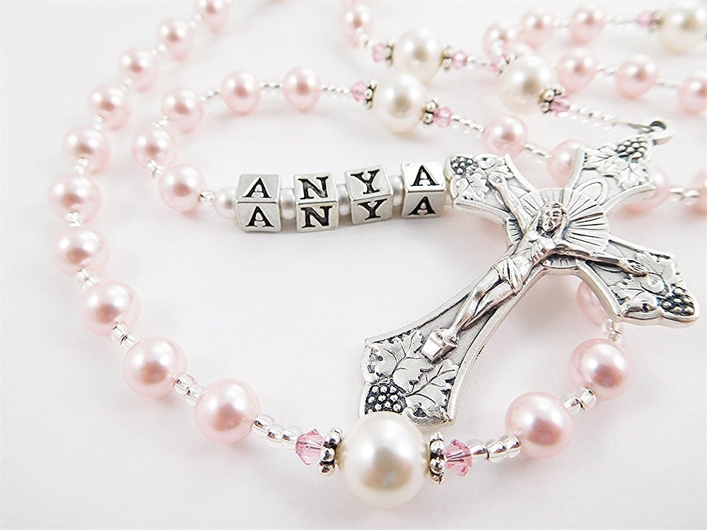 Pink And White Swarovski Pearl Personalized Rosary Beads