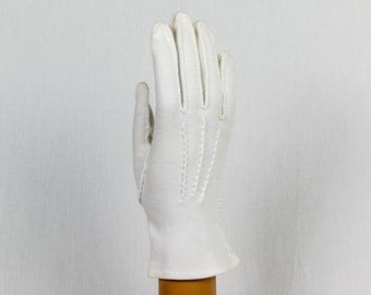 Vintage White Gloves 9 inches in length, Small Sized, Hand sewn, made in the USA, Flared at the wrist, Hand stitched design on the back