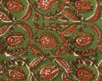 Cotton Fabric Print - Orange and Ochre Floral Pattern on Green Floral Kalamkari Print 1 Yard - ctjp192
