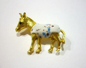 Vintage Figural Horse Brooch White Ceramic Splatter Pin Rhinestone Gold Jewelry Vintage Gift for Her