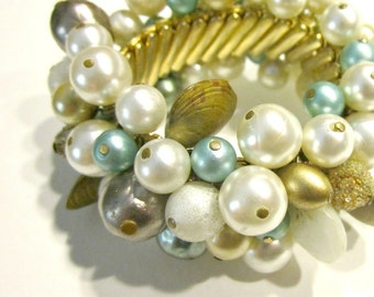Vintage Beach Bracelet Wide Expansion Bracelet Shells Beads Blue White Teal Pearl Shell Nautical Jewelry