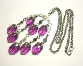 Sarah Coventry Wisteria Necklace Dangling Purple Beaded Necklace Gift for Mom
