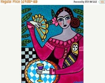Marked Down 50% - Mexican Folk Art Frida Kahlo art Art Print Poster by Heather Galler