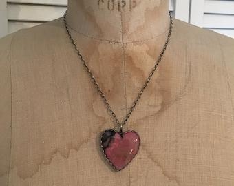 Rhodonite Heart of Stone Necklace- rhodonite necklace, rhodonite canochon, rhodonite heart pendant, inner earth jewelry, lapidary, organic